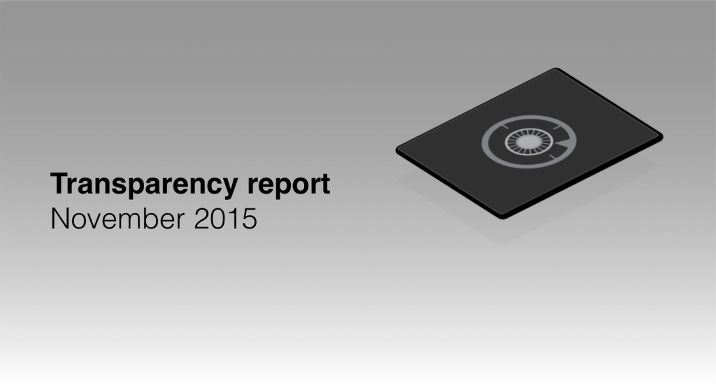 Transparency report November 2015