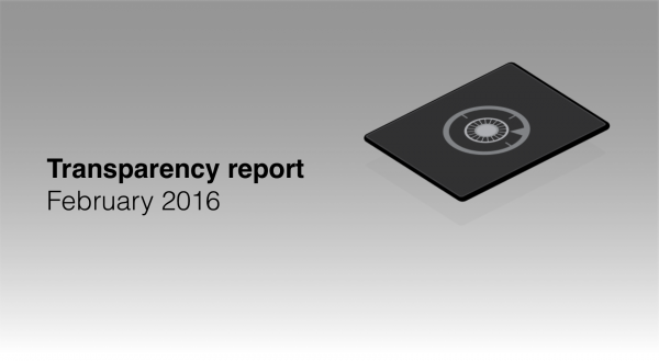 Transparency report February 2016