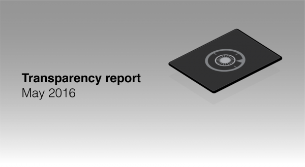 Transparency report May 2016