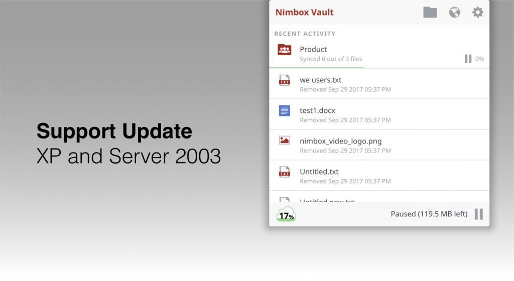 Important note about Windows XP and Server 2003 : Nimbox