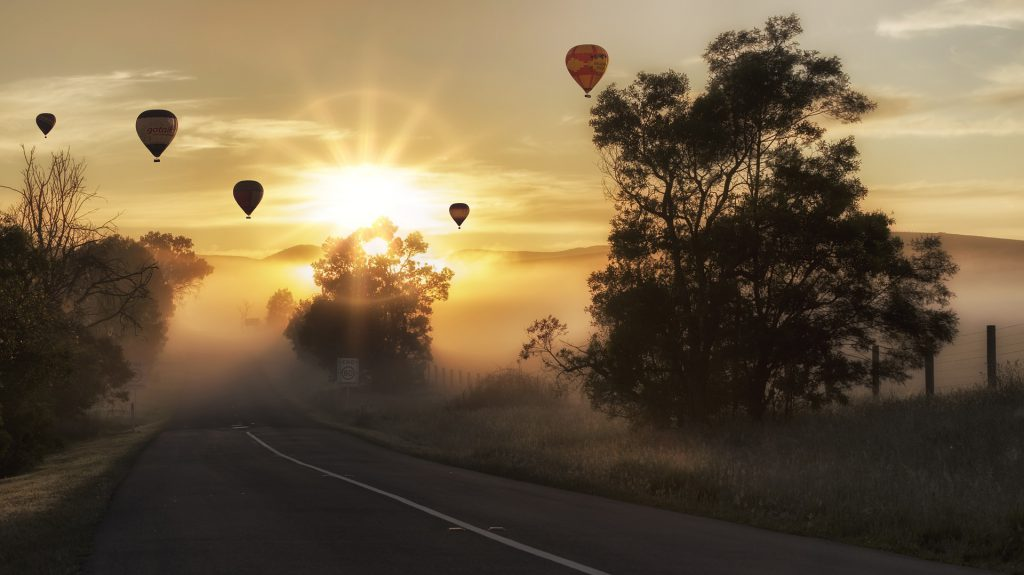 Hot air balloons with sunset